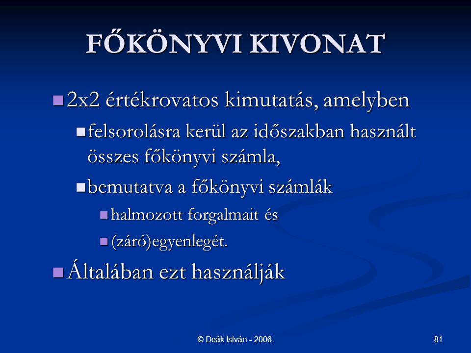 81© Deák István - 2006. FŐKÖNYVI KIVONAT 2x2 értékrovatos kimutatás, amelyben 2x2 értékrovatos kimutatás, amelyben felsorolásra kerül az időszakban ha