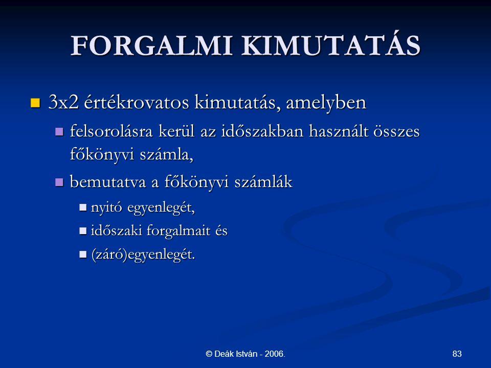 83© Deák István - 2006. FORGALMI KIMUTATÁS 3x2 értékrovatos kimutatás, amelyben 3x2 értékrovatos kimutatás, amelyben felsorolásra kerül az időszakban