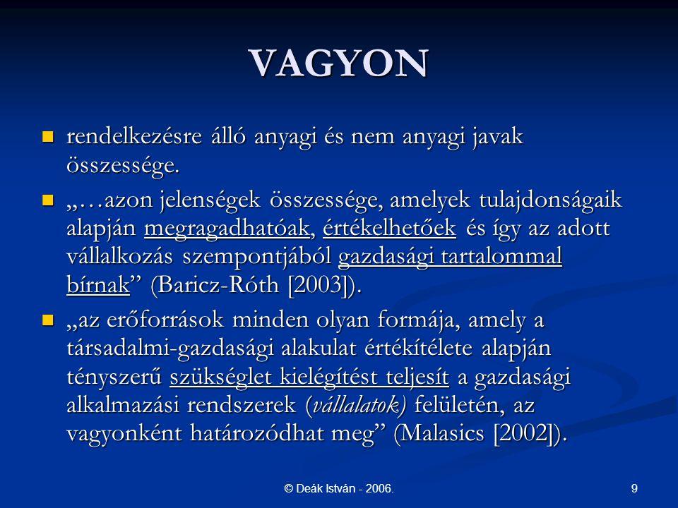"""9© Deák István - 2006. VAGYON rendelkezésre álló anyagi és nem anyagi javak összessége. rendelkezésre álló anyagi és nem anyagi javak összessége. """"…az"""