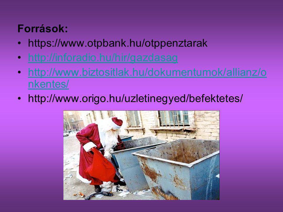 Források: https://www.otpbank.hu/otppenztarak http://inforadio.hu/hir/gazdasag http://www.biztositlak.hu/dokumentumok/allianz/o nkentes/http://www.biz
