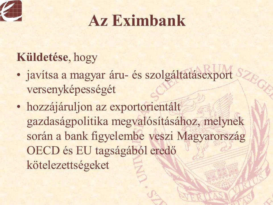 Az Eximbank Küldetése, hogy javítsa a magyar áru- és szolgáltatásexport versenyképességét hozzájáruljon az exportorientált gazdaságpolitika megvalósít