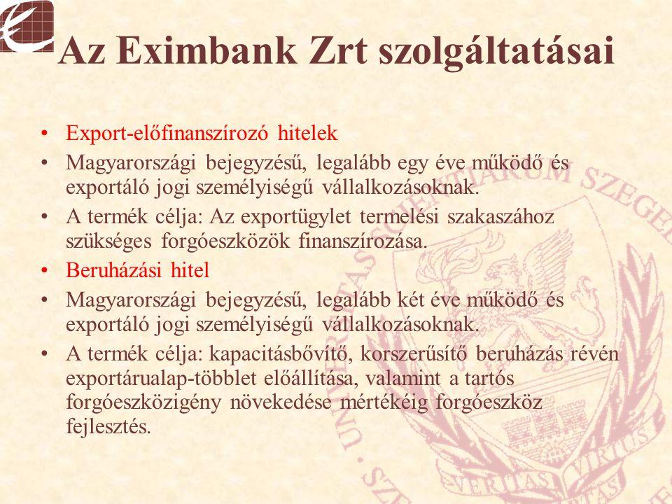 Az Eximbank Zrt szolgáltatásai Export-előfinanszírozó hitelek Magyarországi bejegyzésű, legalább egy éve működő és exportáló jogi személyiségű vállalk