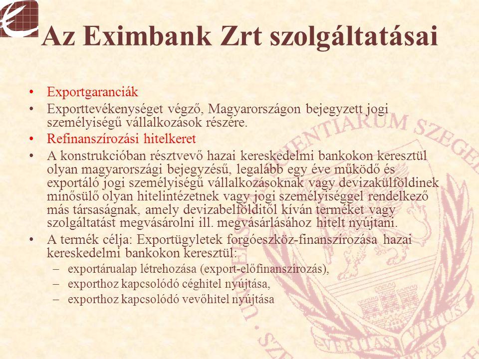 Az Eximbank Zrt szolgáltatásai Exportgaranciák Exporttevékenységet végző, Magyarországon bejegyzett jogi személyiségű vállalkozások részére. Refinansz
