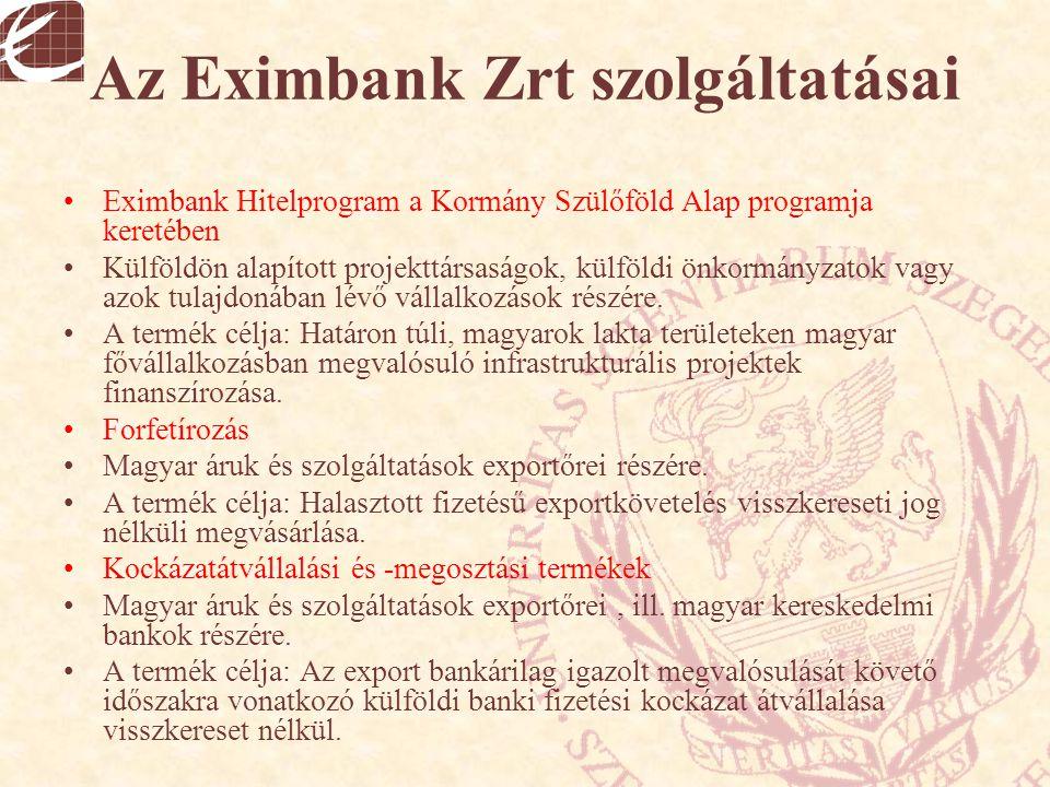 Az Eximbank Zrt szolgáltatásai Eximbank Hitelprogram a Kormány Szülőföld Alap programja keretében Külföldön alapított projekttársaságok, külföldi önko