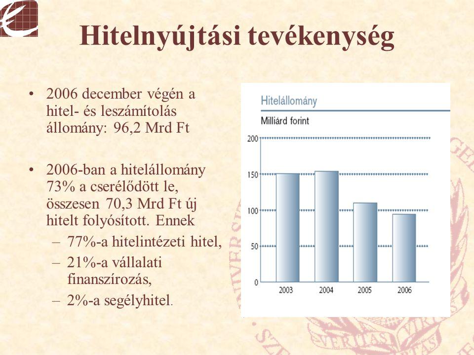 Hitelnyújtási tevékenység 2006 december végén a hitel- és leszámítolás állomány: 96,2 Mrd Ft 2006-ban a hitelállomány 73% a cserélődött le, összesen 7