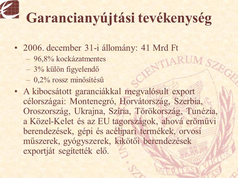 Garancianyújtási tevékenység 2006. december 31-i állomány: 41 Mrd Ft –96,8% kockázatmentes –3% külön figyelendő –0,2% rossz minősítésű A kibocsátott g
