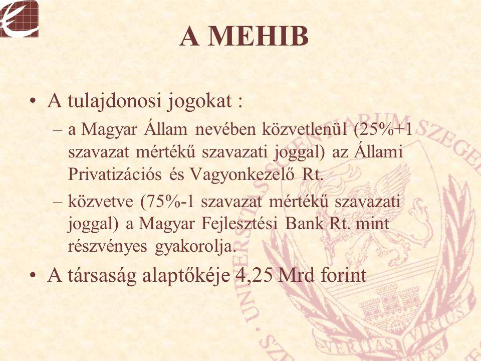 A MEHIB A tulajdonosi jogokat : –a Magyar Állam nevében közvetlenül (25%+1 szavazat mértékű szavazati joggal) az Állami Privatizációs és Vagyonkezelő