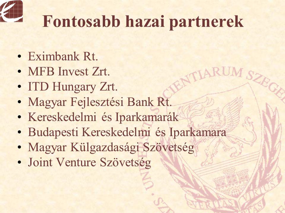 Fontosabb hazai partnerek Eximbank Rt. MFB Invest Zrt. ITD Hungary Zrt. Magyar Fejlesztési Bank Rt. Kereskedelmi és Iparkamarák Budapesti Kereskedelmi