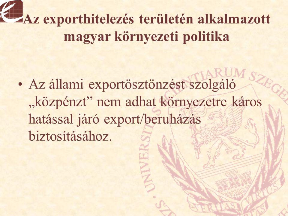 """Az exporthitelezés területén alkalmazott magyar környezeti politika Az állami exportösztönzést szolgáló """"közpénzt"""" nem adhat környezetre káros hatássa"""