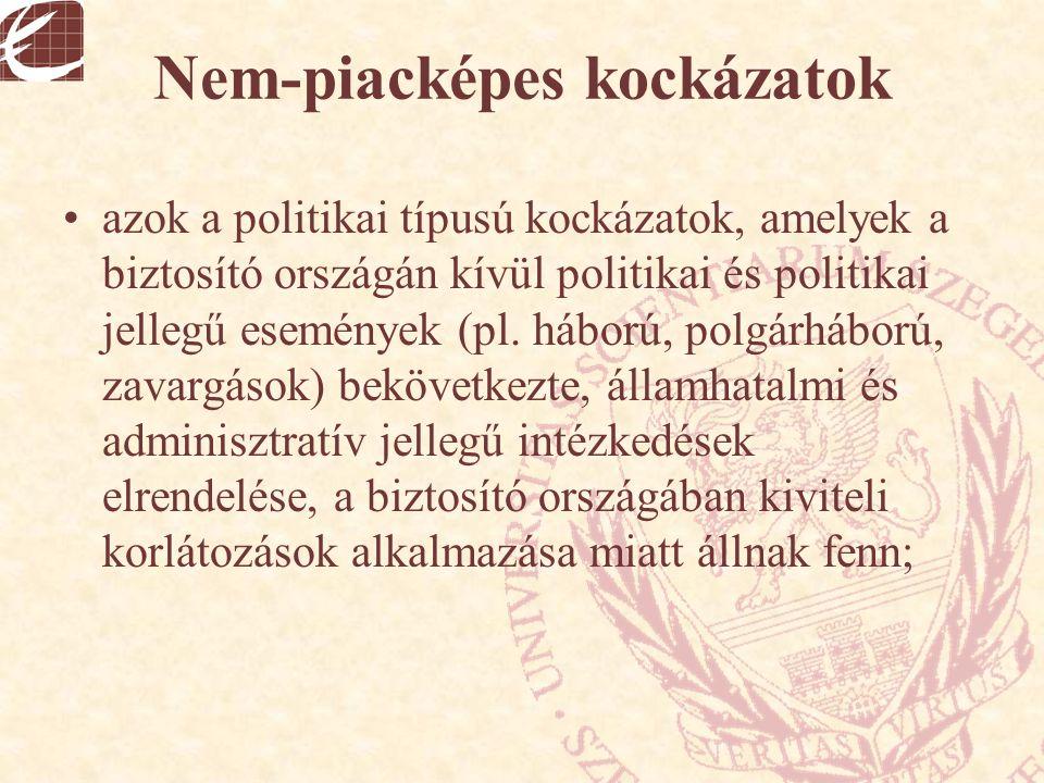 Nem-piacképes kockázatok azok a politikai típusú kockázatok, amelyek a biztosító országán kívül politikai és politikai jellegű események (pl. háború,
