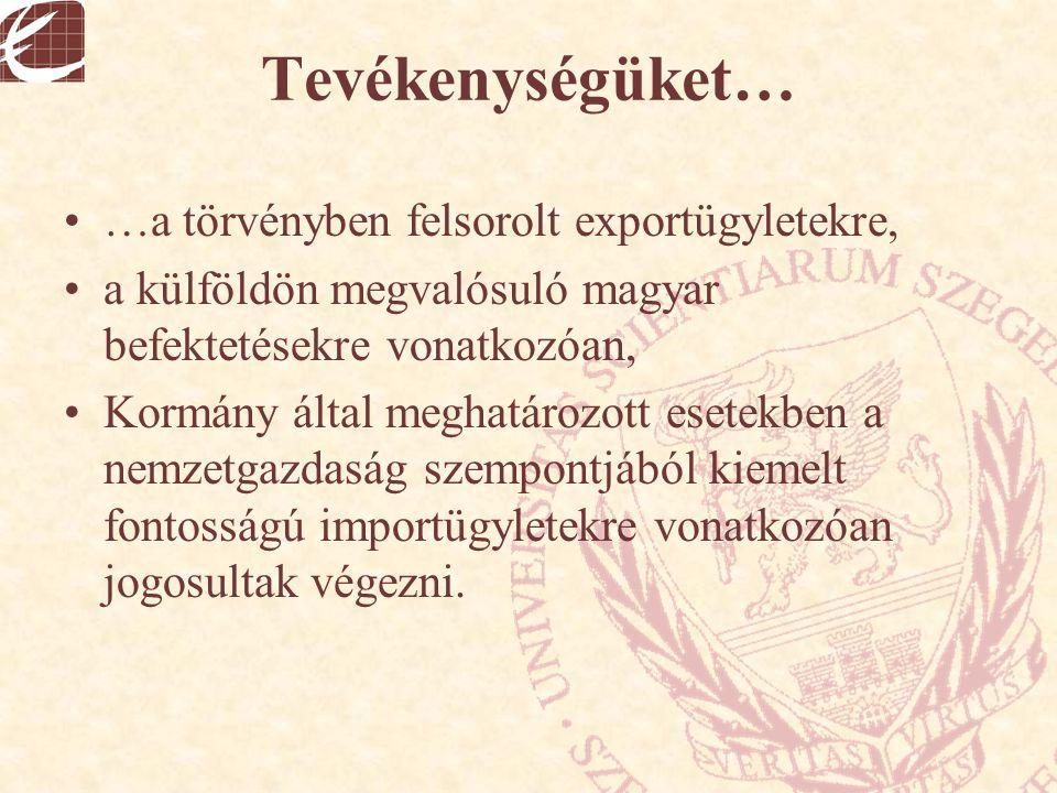 Tevékenységüket… …a törvényben felsorolt exportügyletekre, a külföldön megvalósuló magyar befektetésekre vonatkozóan, Kormány által meghatározott eset