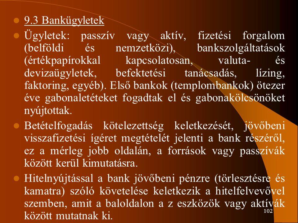 102 9.3 Bankügyletek Ügyletek: passzív vagy aktív, fizetési forgalom (belföldi és nemzetközi), bankszolgáltatások (értékpapírokkal kapcsolatosan, valu