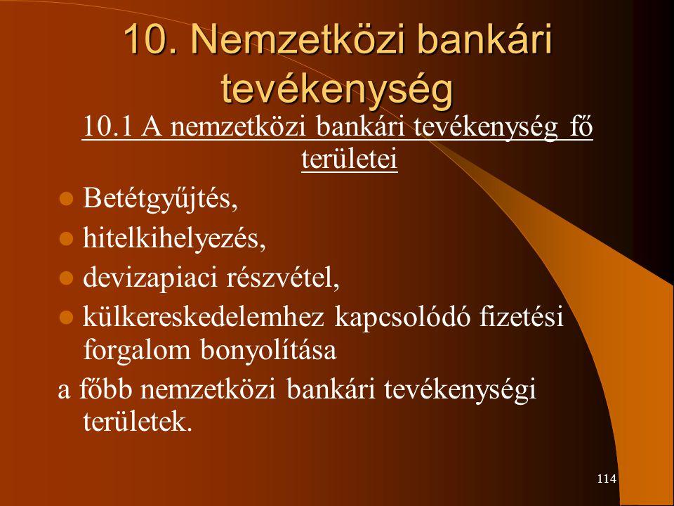 114 10. Nemzetközi bankári tevékenység 10.1 A nemzetközi bankári tevékenység fő területei Betétgyűjtés, hitelkihelyezés, devizapiaci részvétel, külker