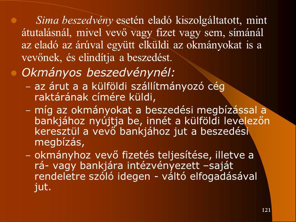 121 Sima beszedvény esetén eladó kiszolgáltatott, mint átutalásnál, mivel vevő vagy fizet vagy sem, símánál az eladó az árúval együtt elküldi az okmán