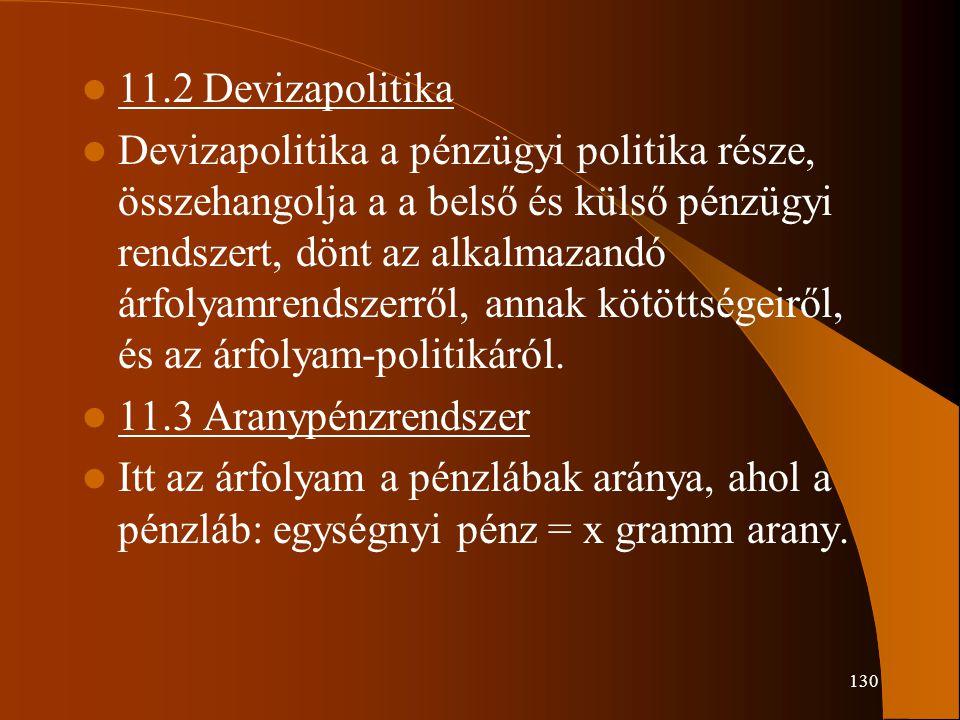 130 11.2 Devizapolitika Devizapolitika a pénzügyi politika része, összehangolja a a belső és külső pénzügyi rendszert, dönt az alkalmazandó árfolyamre