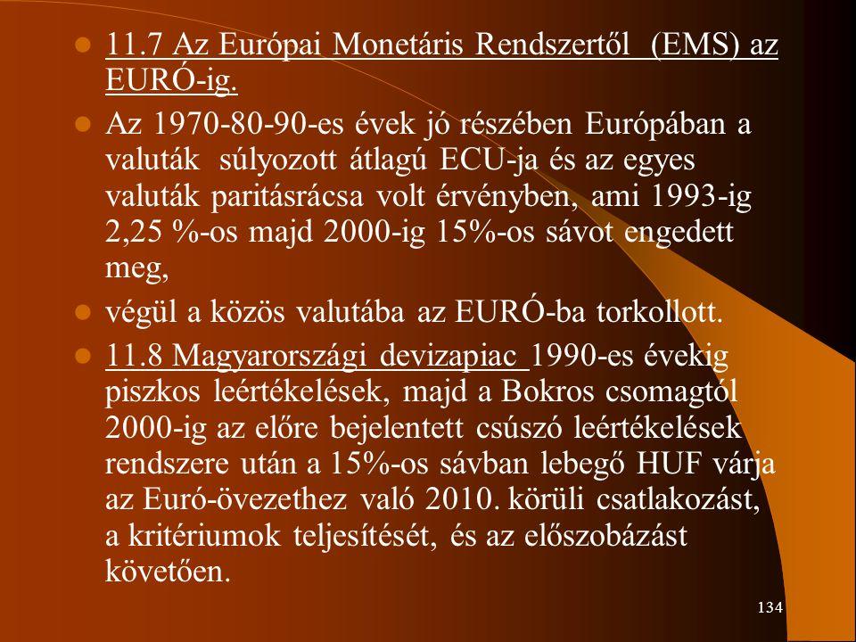 134 11.7 Az Európai Monetáris Rendszertől (EMS) az EURÓ-ig. Az 1970-80-90-es évek jó részében Európában a valuták súlyozott átlagú ECU-ja és az egyes