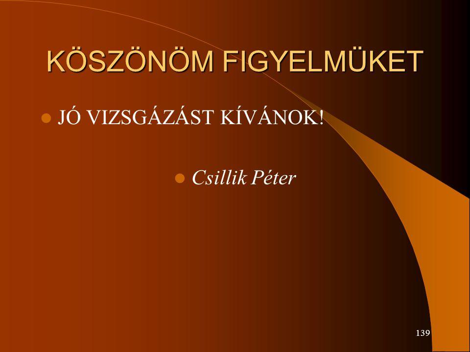 139 KÖSZÖNÖM FIGYELMÜKET JÓ VIZSGÁZÁST KÍVÁNOK! Csillik Péter