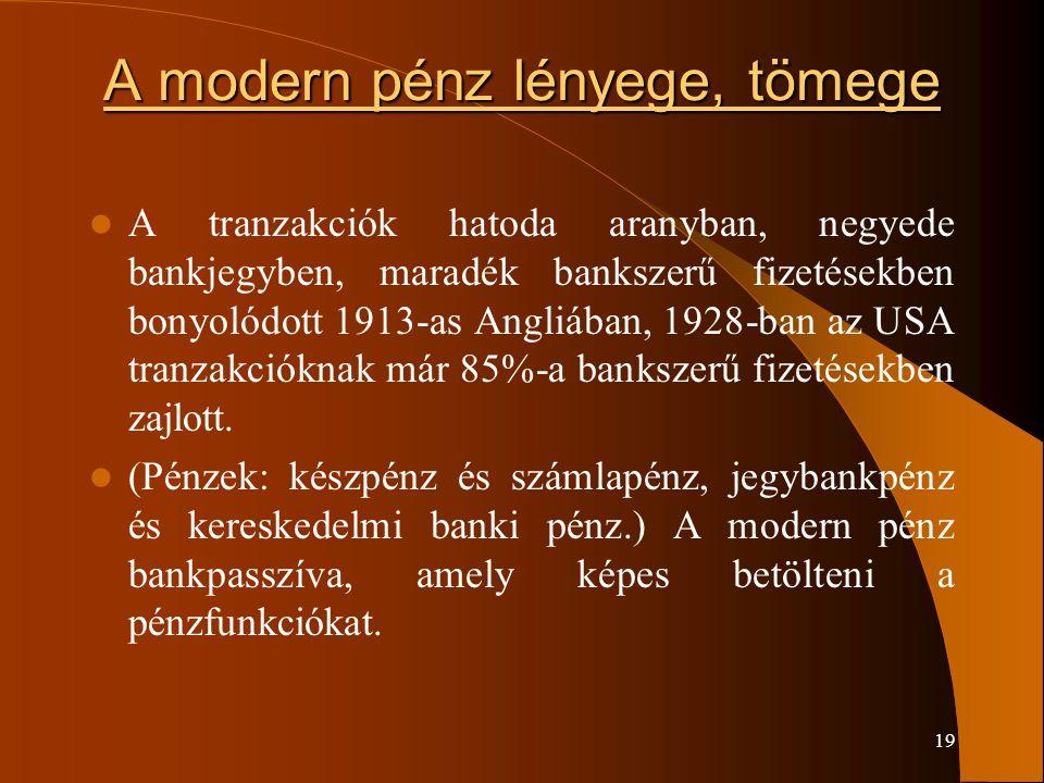 19 A modern pénz lényege, tömege A tranzakciók hatoda aranyban, negyede bankjegyben, maradék bankszerű fizetésekben bonyolódott 1913-as Angliában, 192
