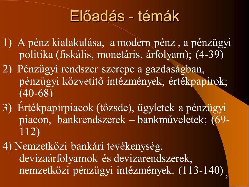2 Előadás - témák 1) A pénz kialakulása, a modern pénz, a pénzügyi politika (fiskális, monetáris, árfolyam); (4-39) 2) Pénzügyi rendszer szerepe a gaz