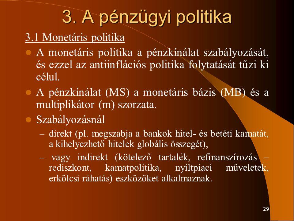 29 3. A pénzügyi politika 3.1 Monetáris politika A monetáris politika a pénzkínálat szabályozását, és ezzel az antiinflációs politika folytatását tűzi