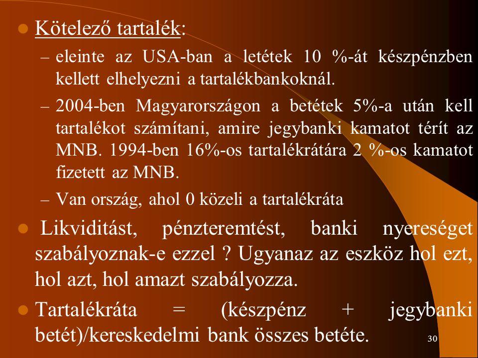 30 Kötelező tartalék: – eleinte az USA-ban a letétek 10 %-át készpénzben kellett elhelyezni a tartalékbankoknál. – 2004-ben Magyarországon a betétek 5