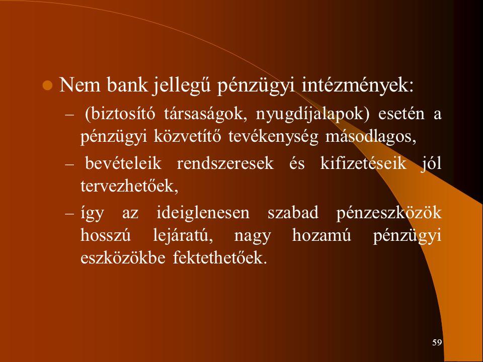 59 Nem bank jellegű pénzügyi intézmények: – (biztosító társaságok, nyugdíjalapok) esetén a pénzügyi közvetítő tevékenység másodlagos, – bevételeik ren