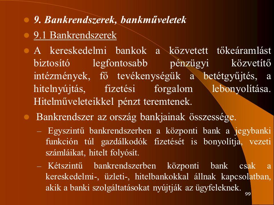 99 9. Bankrendszerek, bankműveletek 9.1 Bankrendszerek A kereskedelmi bankok a közvetett tőkeáramlást biztosító legfontosabb pénzügyi közvetítő intézm