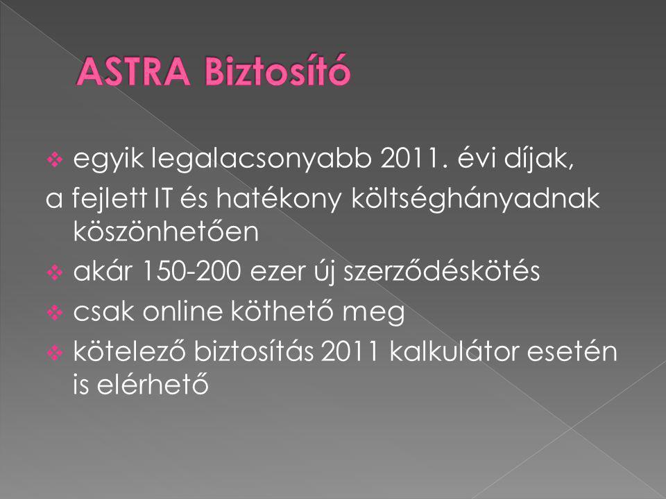  egyik legalacsonyabb 2011. évi díjak, a fejlett IT és hatékony költséghányadnak köszönhetően  akár 150-200 ezer új szerződéskötés  csak online köt