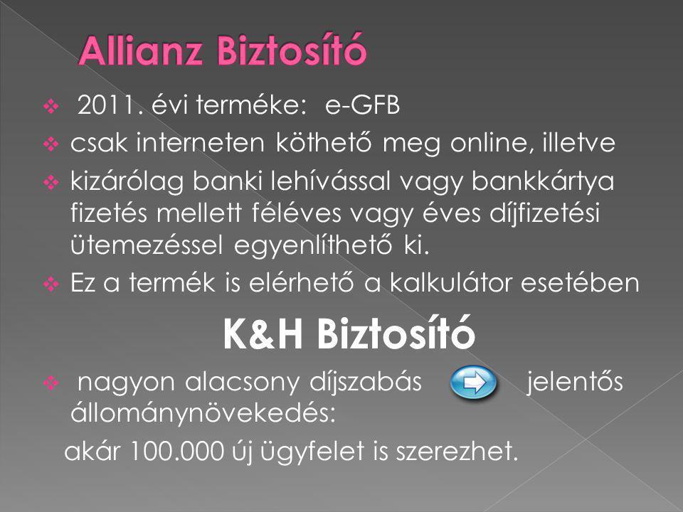  2011. évi terméke: e-GFB  csak interneten köthető meg online, illetve  kizárólag banki lehívással vagy bankkártya fizetés mellett féléves vagy éve