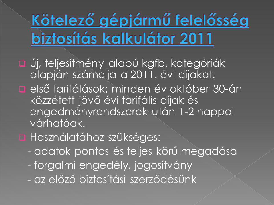  új, teljesítmény alapú kgfb. kategóriák alapján számolja a 2011. évi díjakat.  első tarifálások: minden év október 30-án közzétett jövő évi tarifál