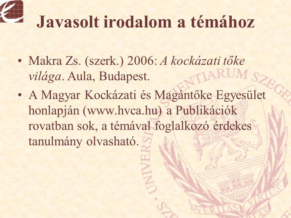 Javasolt irodalom a témához Makra Zs. (szerk.) 2006: A kockázati tőke világa. Aula, Budapest. A Magyar Kockázati és Magántőke Egyesület honlapján (www