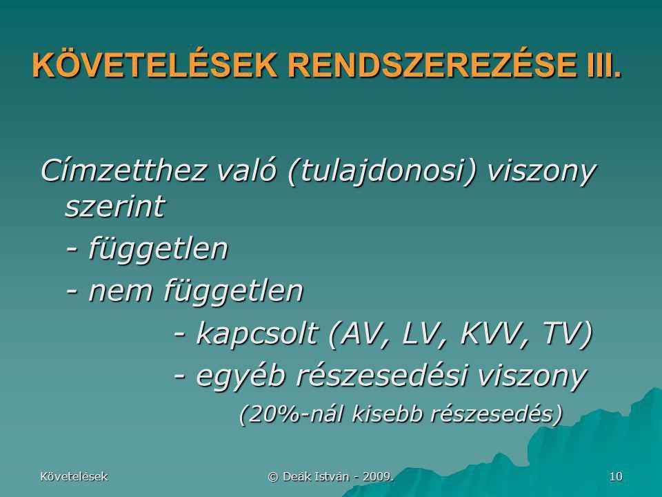 Követelések © Deák István - 2009. 10 KÖVETELÉSEK RENDSZEREZÉSE III. Címzetthez való (tulajdonosi) viszony szerint - független - nem független - kapcso
