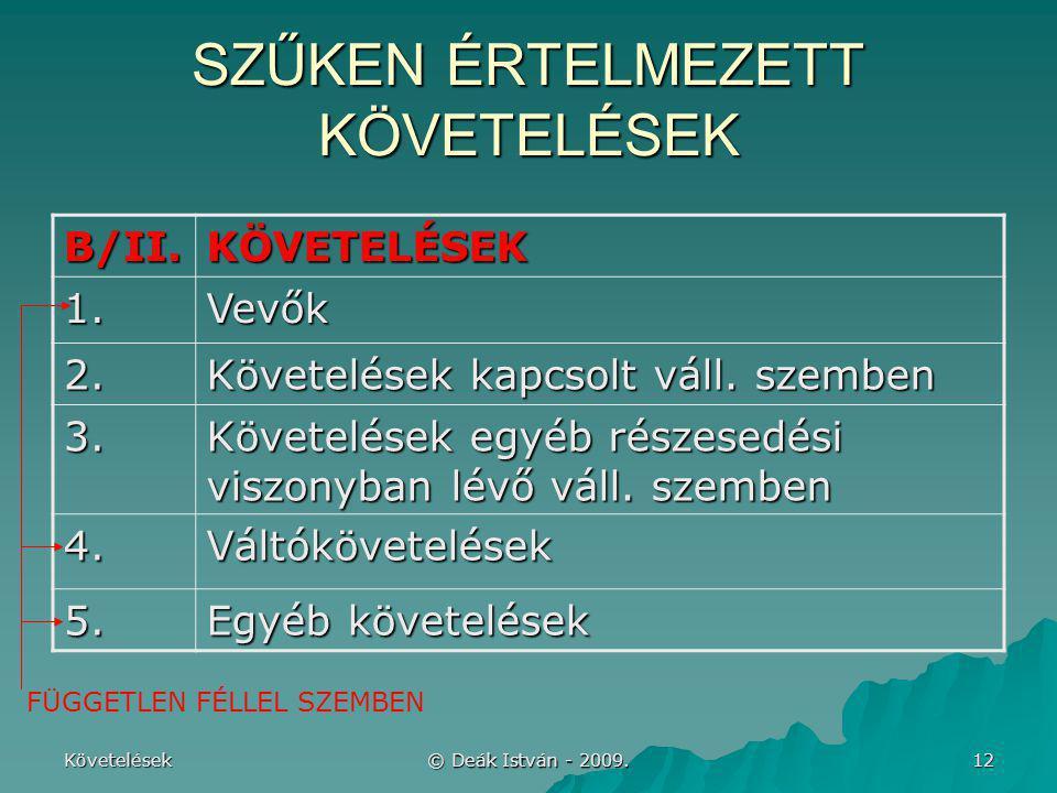 Követelések © Deák István - 2009. 12 SZŰKEN ÉRTELMEZETT KÖVETELÉSEK B/II.KÖVETELÉSEK 1.Vevők 2. Követelések kapcsolt váll. szemben 3. Követelések egyé