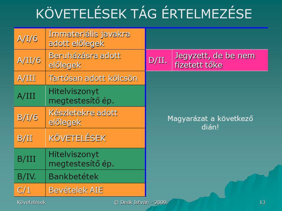 Követelések © Deák István - 2009. 13 A/I/6 Immateriális javakra adott előlegek A/II/6 Beruházásra adott előlegek D/II. Jegyzett, de be nem fizetett tő