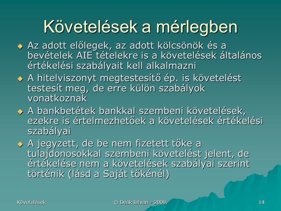Követelések © Deák István - 2009. 14 Követelések a mérlegben  Az adott előlegek, az adott kölcsönök és a bevételek AIE tételekre is a követelések ált