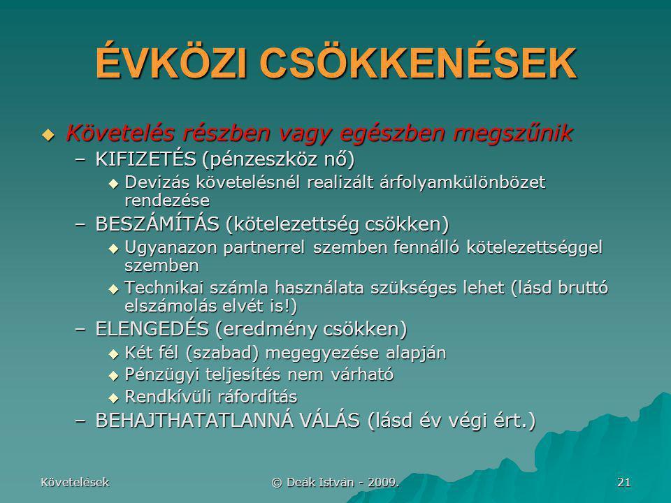 Követelések © Deák István - 2009. 21 ÉVKÖZI CSÖKKENÉSEK  Követelés részben vagy egészben megszűnik –KIFIZETÉS (pénzeszköz nő)  Devizás követelésnél