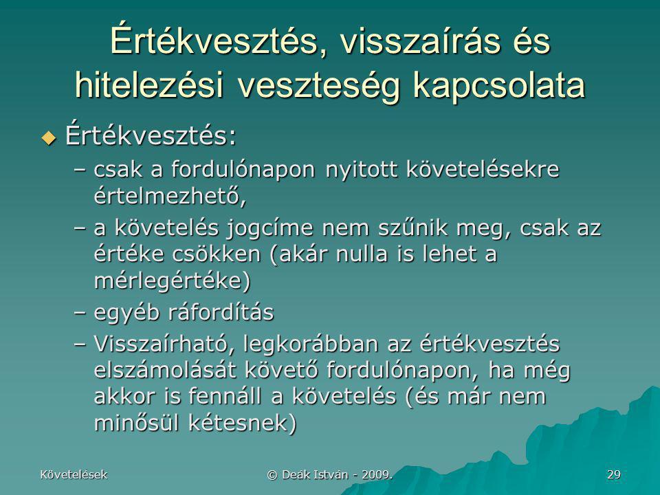 Követelések © Deák István - 2009. 29 Értékvesztés, visszaírás és hitelezési veszteség kapcsolata  Értékvesztés: –csak a fordulónapon nyitott követelé