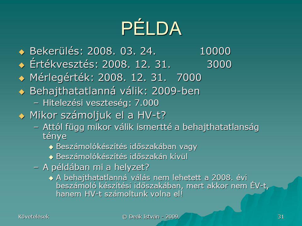 Követelések © Deák István - 2009. 31 PÉLDA  Bekerülés: 2008. 03. 24.10000  Értékvesztés: 2008. 12. 31. 3000  Mérlegérték: 2008. 12. 31. 7000  Beha