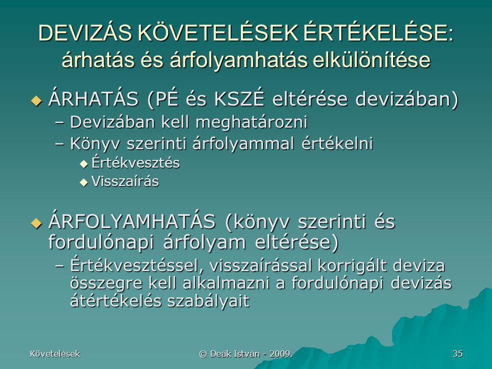 Követelések © Deák István - 2009. 35 DEVIZÁS KÖVETELÉSEK ÉRTÉKELÉSE: árhatás és árfolyamhatás elkülönítése  ÁRHATÁS (PÉ és KSZÉ eltérése devizában) –