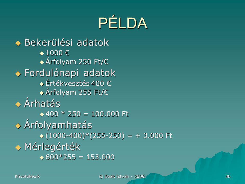Követelések © Deák István - 2009. 36 PÉLDA  Bekerülési adatok  1000 €  Árfolyam 250 Ft/€  Fordulónapi adatok  Értékvesztés 400 €  Árfolyam 255 F