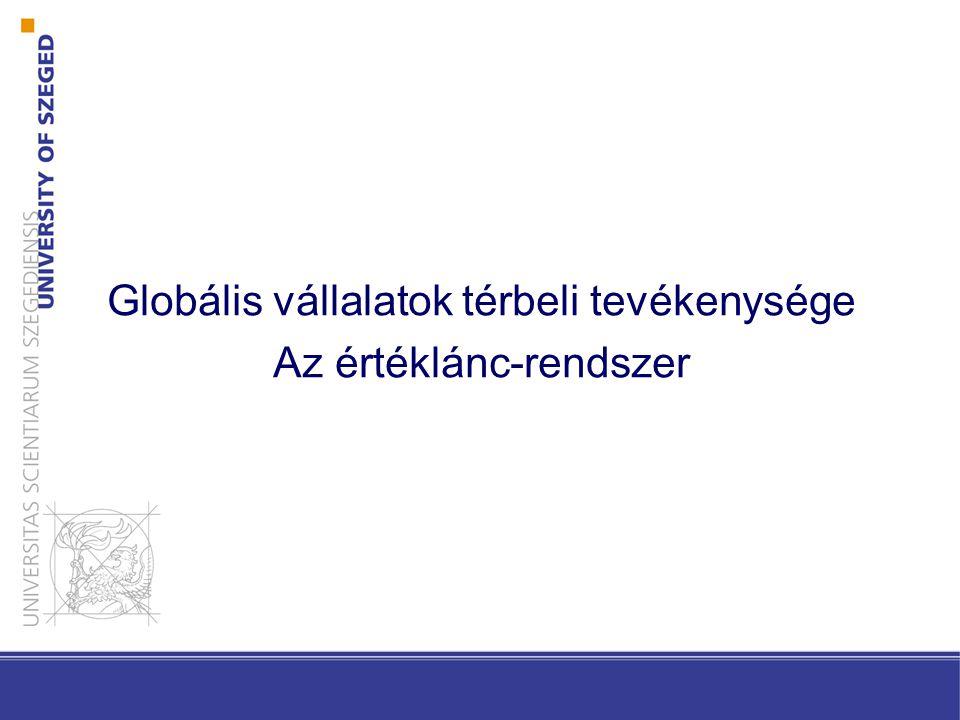 Globális vállalatok térbeli tevékenysége Az értéklánc-rendszer