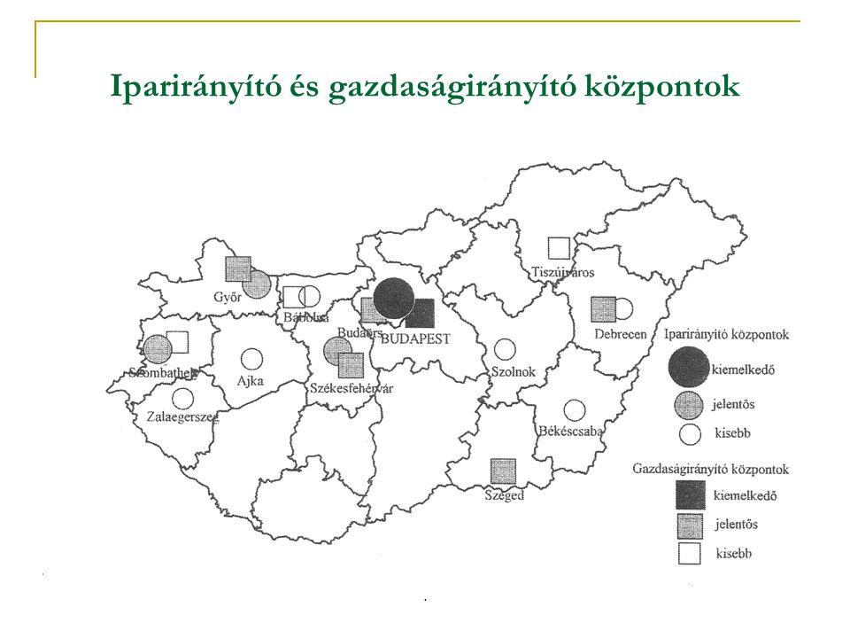 Iparirányító és gazdaságirányító központok.