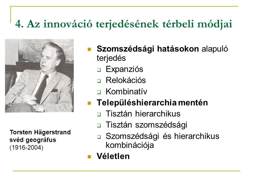 4. Az innováció terjedésének térbeli módjai Szomszédsági hatásokon alapuló terjedés  Expanziós  Relokációs  Kombinatív Településhierarchia mentén 