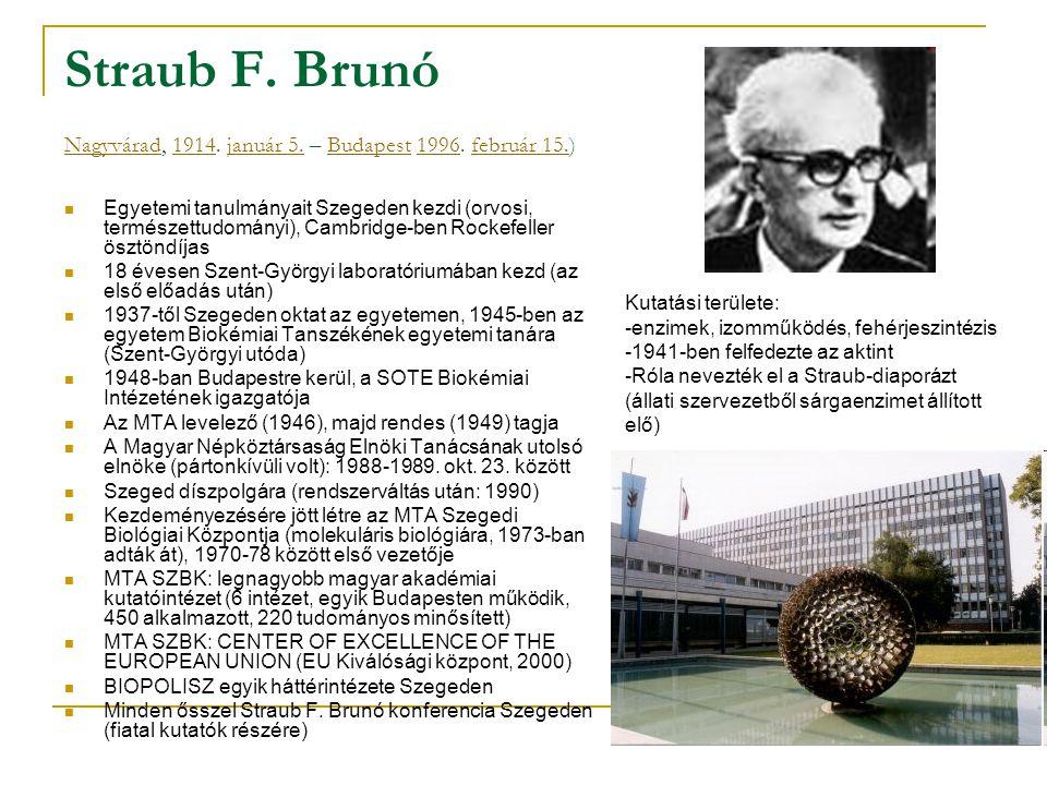 Straub F. Brunó Nagyvárad, 1914. január 5. – Budapest 1996. február 15.) Nagyvárad1914január 5.Budapest1996február 15. Egyetemi tanulmányait Szegeden