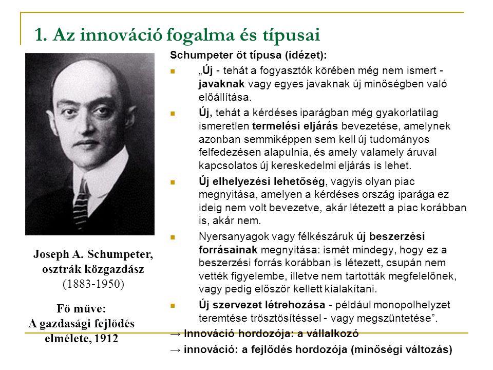 """1. Az innováció fogalma és típusai Schumpeter öt típusa (idézet): """"Új - tehát a fogyasztók körében még nem ismert - javaknak vagy egyes javaknak új mi"""