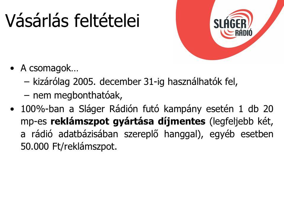 Vásárlás feltételei A csomagok… –kizárólag 2005. december 31-ig használhatók fel, –nem megbonthatóak, 100%-ban a Sláger Rádión futó kampány esetén 1 d