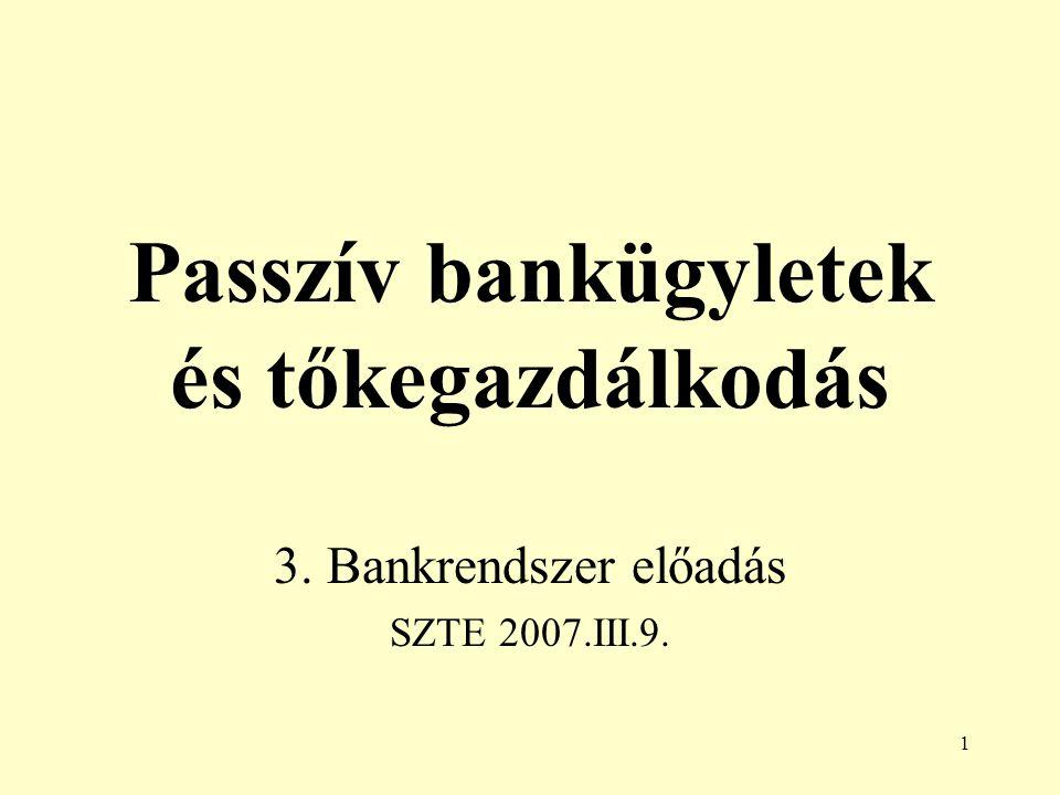1 Passzív bankügyletek és tőkegazdálkodás 3. Bankrendszer előadás SZTE 2007.III.9.