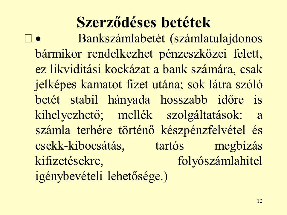 12 Szerződéses betétek  Bankszámlabetét (számlatulajdonos bármikor rendelkezhet pénzeszközei felett, ez likviditási kockázat a bank számára, csak je