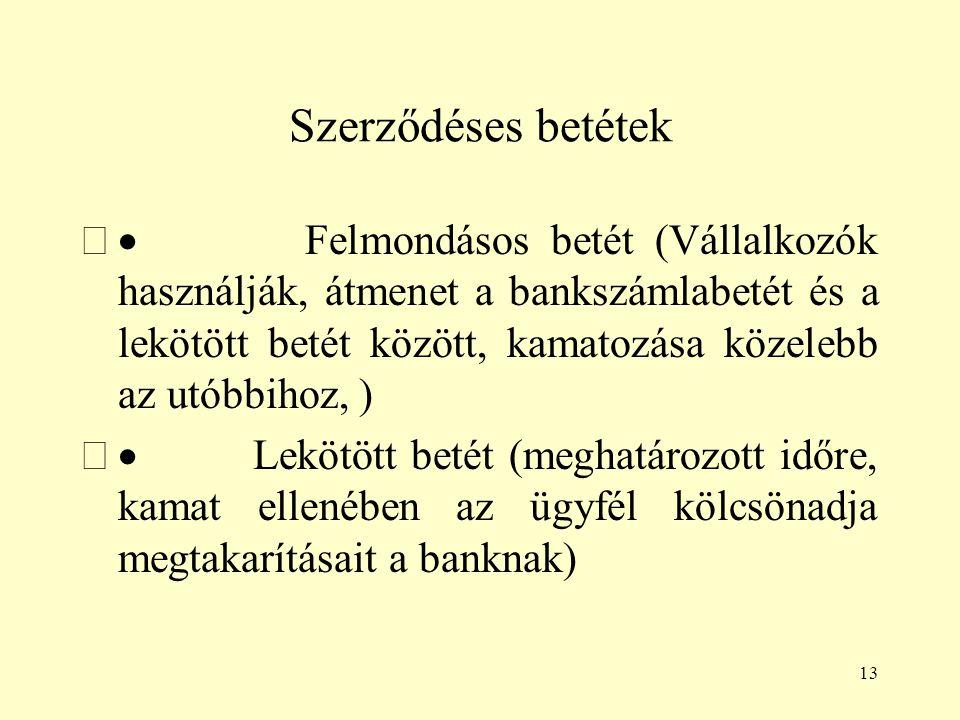 13 Szerződéses betétek  Felmondásos betét (Vállalkozók használják, átmenet a bankszámlabetét és a lekötött betét között, kamatozása közelebb az utób