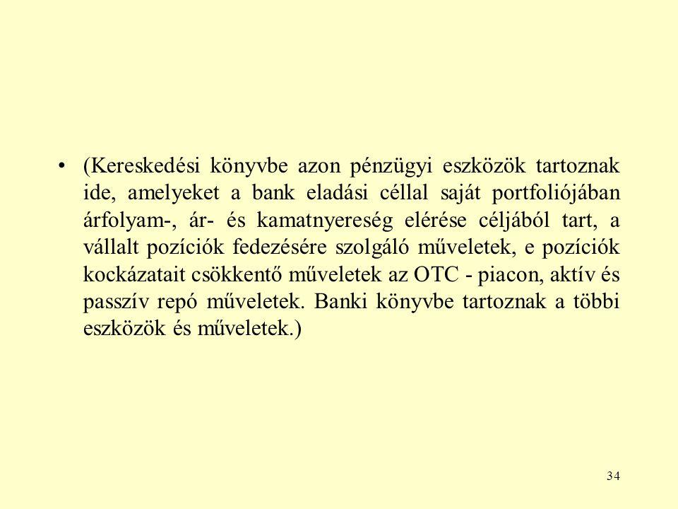 34 (Kereskedési könyvbe azon pénzügyi eszközök tartoznak ide, amelyeket a bank eladási céllal saját portfoliójában árfolyam-, ár- és kamatnyereség elé